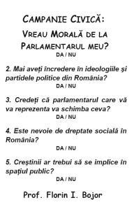 Campanie Civică: Vreau Morală de la Parlamentarul meu?