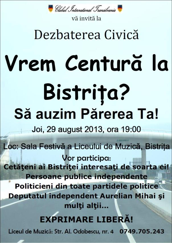 Dezbatere publica: Conferinta Centura Bistrita