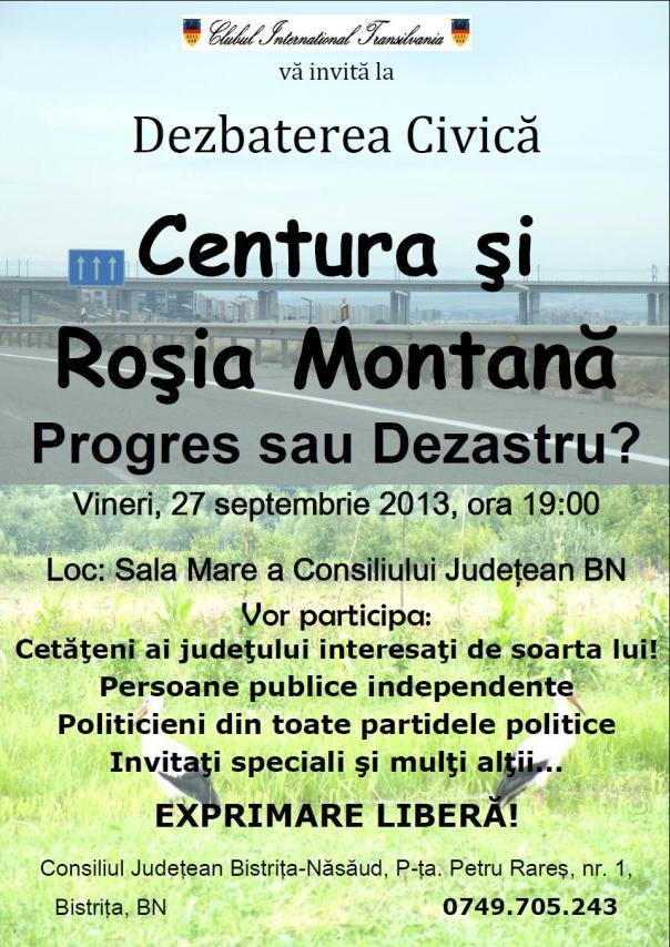 Dezbatere civica: Centura Bistritei si Rosia Montanta