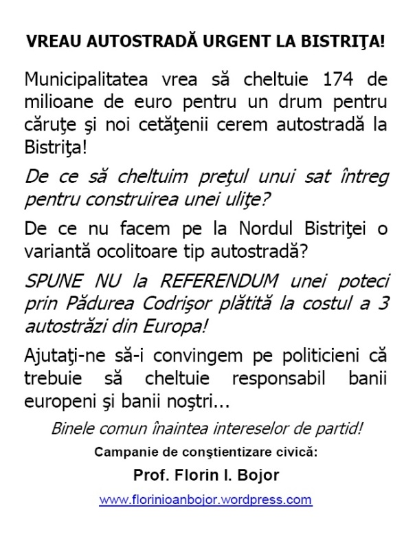 Sunteţi de acord cu construcţia în municipiul Bistriţa, din fonduri europene, a unei variante ocolitoare pe traseul DN 17-Parcul Industrial-Dealul Cighir-Dealul Codrişor-Complex Wonderland-intrarea în DN 17?