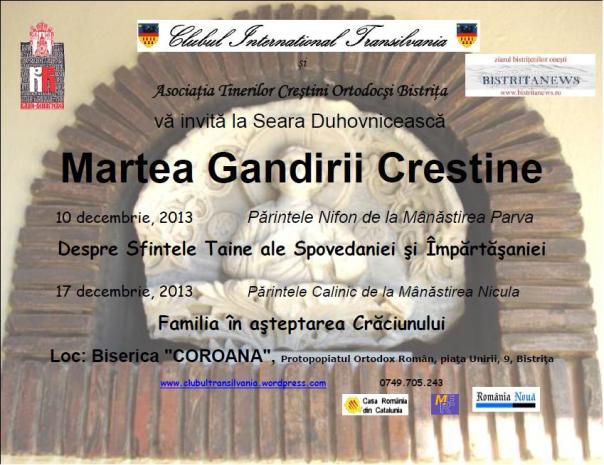 Alti invitati la Martea Gandirii Crestine