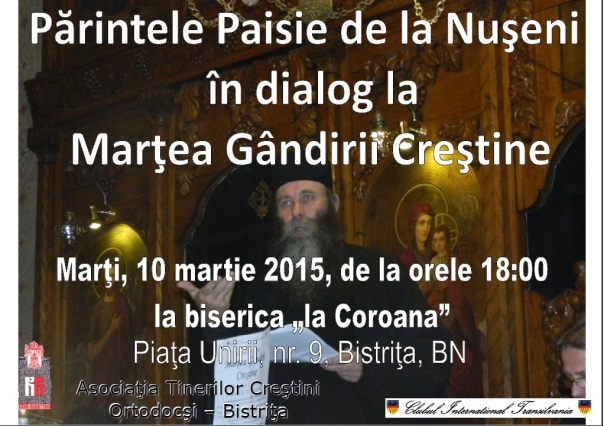 Părintele Paisie de la Nuşeni  în dialog la Marţea Gândirii Creştine