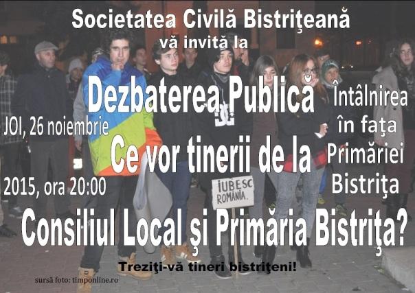 Dezbatere Publică: Ce vor tinerii de la Consiliul Local şi Primăria Bistriţa?